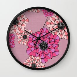 Pink Abstract Flowers Sketch Illustrated Pattern Wall Clock
