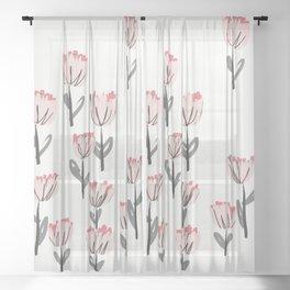 Field of Pink Flowers Sheer Curtain