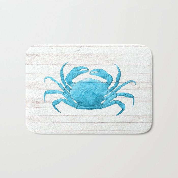 Nautical Blue Crab Driftwood Dock Bath Mat