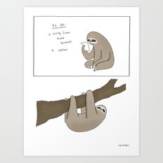 Sloth To-Do List  Art Print