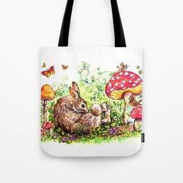 Bunny in Fairy Garden Tote Bag