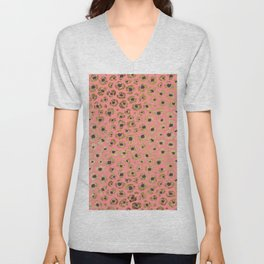 Chic Faux Gold and Black Cheetah Print on Coral Unisex V-Neck