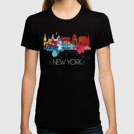 New York Fun Cityscape Watercolor T-shirt