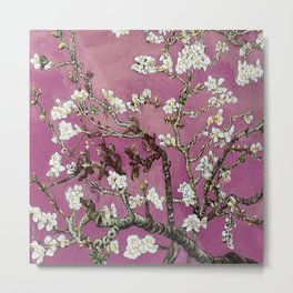Vincent van Gogh Blossoming Almond Tree (Almond Blossoms) Fuchsia Sky Metal Print