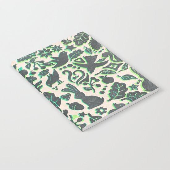 Two Rabbits - folk art pattern in grey, lime green & mint Notebook
