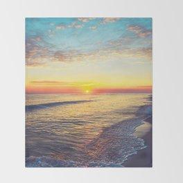 Summer Sunset Ocean Beach - Nature Photography Throw Blanket