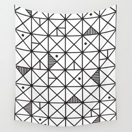 Monochrome Geometric 02 Wall Tapestry