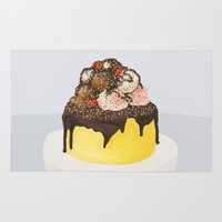 cake Area & Throw Rugs featuring Cake Cake Cake by Gabby Grife | GuinArt