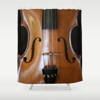 beethoven Shower Curtains featuring Violin by Päivi Vikström