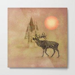 Deer in the autumn Metal Print