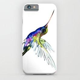 Flying Hummingbird, Blue green wall art minimalist bird iPhone Case