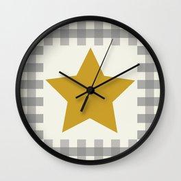 Country Farmhouse Mustard Gold Yellow Star Grey Gingham plaid Wall Clock