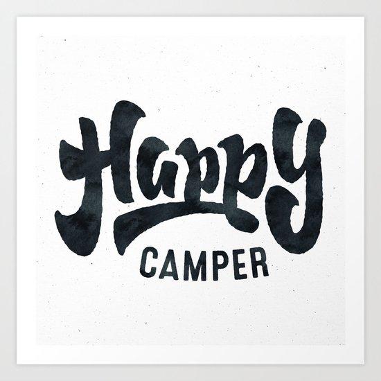 HAPPY CAMPER Black and White Retro Art Print