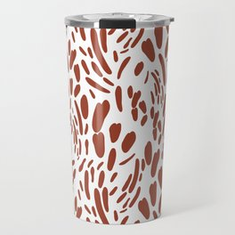 Orange brown abstract modern brushstrokes pattern Travel Mug