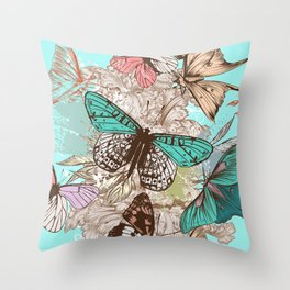 Beautiful print with hand drawn butterflies in vintage style Throw Pillow