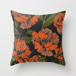 Autumnal flowering of poppies Throw Pillow