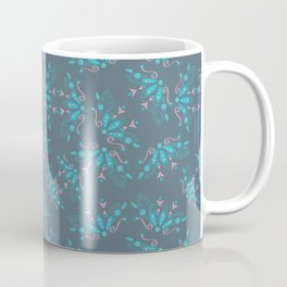 Blue Dark Flowers Coffee Mug