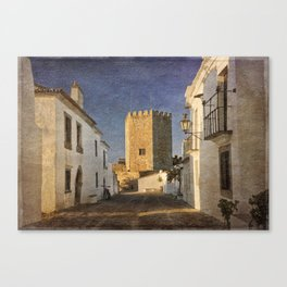 Castle and cobbled street, Portugal, Monsaraz Canvas Print