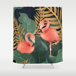 Two Flamingos Shower Curtain