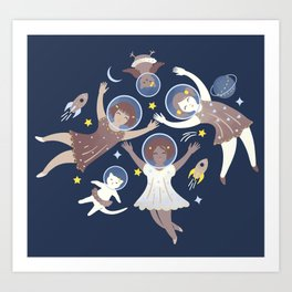 Girls in space Art Print
