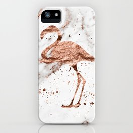 Rose gold marble - flamingo iPhone Case