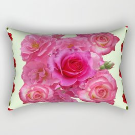 CONTEMPORARY ART RED & PINK GARDEN ROSES PATTERN Rectangular Pillow