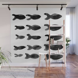 Modern School of Fish black and white Wall Mural
