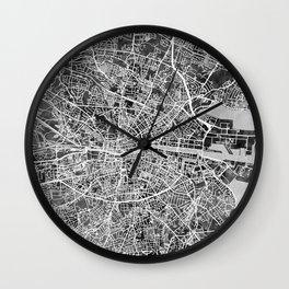 Dublin Ireland City Map Wall Clock