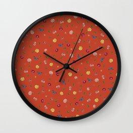 Botanical Red Wall Clock