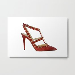 Valentino Rockstud pumps fashion illustration red gold Metal Print