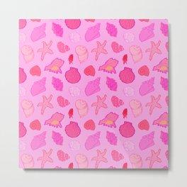 Simply Seashells Toss in Tonal Pink Metal Print