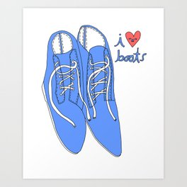 BLUE BOOTS I HEART Art Print
