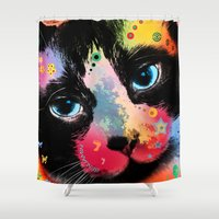 cat coquillette Shower Curtains featuring cat  by mark ashkenazi