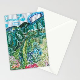 cheerful handmade embroidery in the digital world Stationery Cards