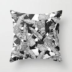 Modern Black and White Tropical Banana Leaves Throw Pillow