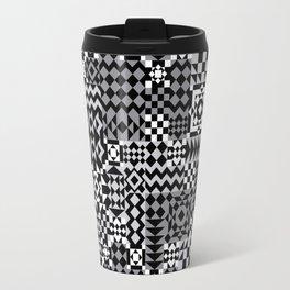 Grey Geo Patchwork Travel Mug