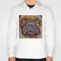 pug Hoodies featuring Pug by Michael Creese