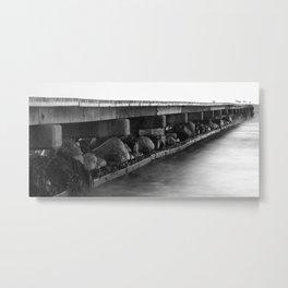 Pier black white Metal Print