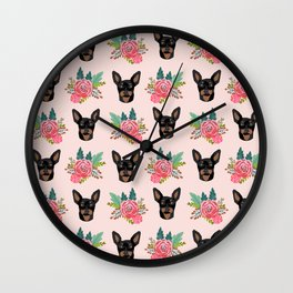 Min Pin miniature doberman pinscher dog breed dog faces cute floral dog pattern Wall Clock