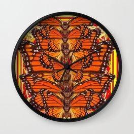 RED ART DECO  MONARCH BUTTERFLIES SWARM Wall Clock