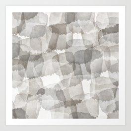 Square Strokes Stone Gray Abstract Brushstrokes Art Print