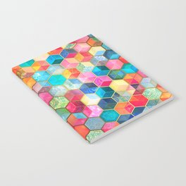 Crystal Bohemian Honeycomb Cubes - colorful hexagon pattern Notebook
