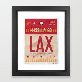 Vintage Los Angeles Luggage Tag Poster Framed Art Print