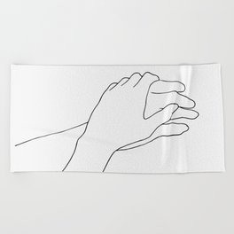 Holding hands line drawing Beach Towel