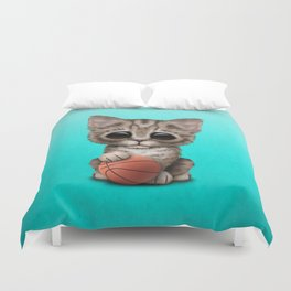 Cute Kitten Playing With Basketball Duvet Cover