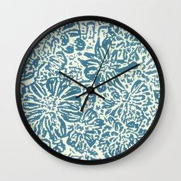 Marigold Lino Cut, Denim Blue Wall Clock