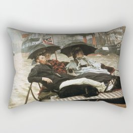The Thames - Vintage Victorian Retro Fine Art Oil Painting Rectangular Pillow