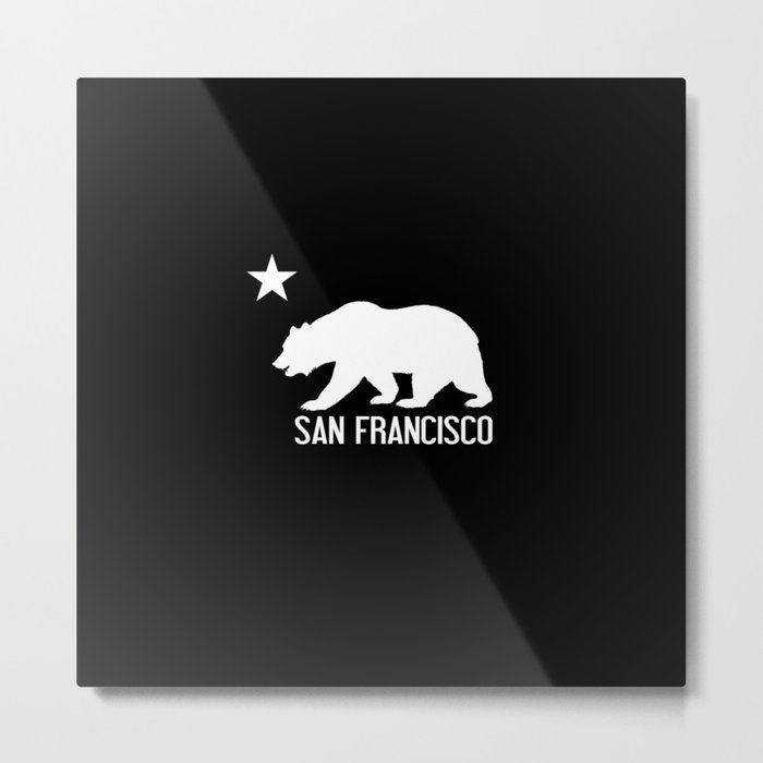 San Francisco and California Bear Metal Print