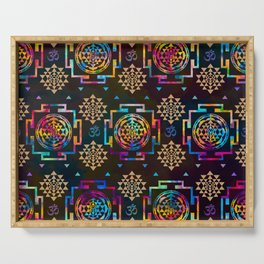 Sri Yantra  pattern - color and gold #2 Serving Tray