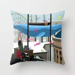 Working Daydreams Throw Pillow